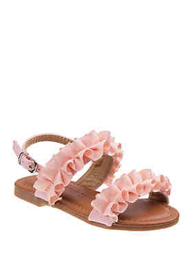 647a377c64b628 Laura Ashley Toddler Youth Girls Ruffle Sandals ...