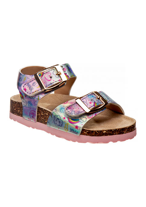 Laura Ashley Toddler Girls Footbed Buckle Sandals