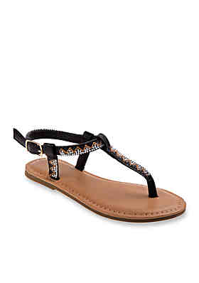 c5d4ac24c5c Nanette Lepore Girl Girls Embroidered Thong Sandals- Toddler Youth ...