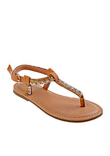 Nanette Lepore Girl Girls Embroidered Thong Sandals- Toddler/Youth