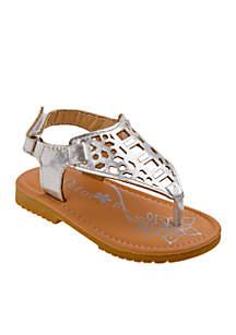 Girl's Metallic Thong Sandal -Toddler