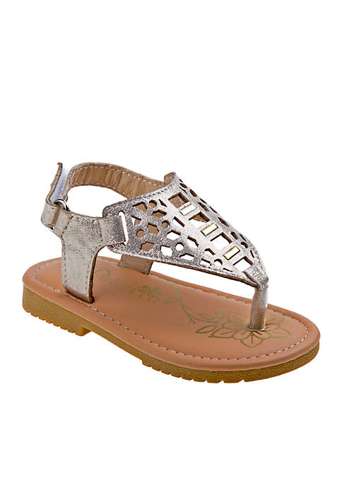 Josmo Girls Metallic Thong Sandal -Toddler