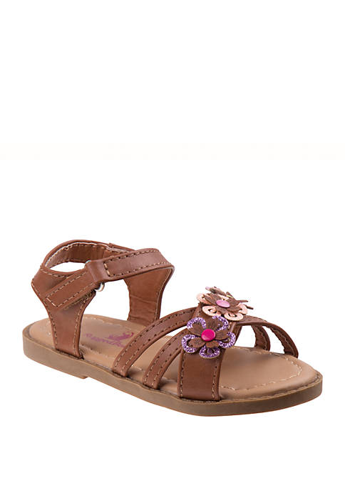Josmo Toddler/Youth Girls Rugged Bear Flower Cutout Sandals
