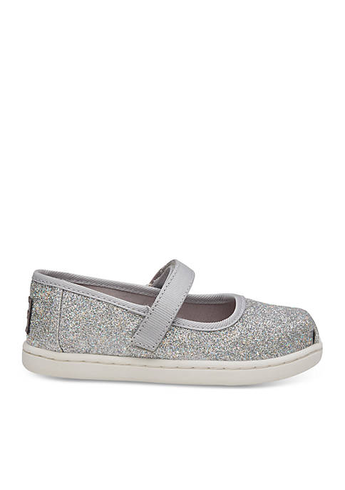 TOMS® Girls Silver Iridescent Glimmer Mary jane Flats