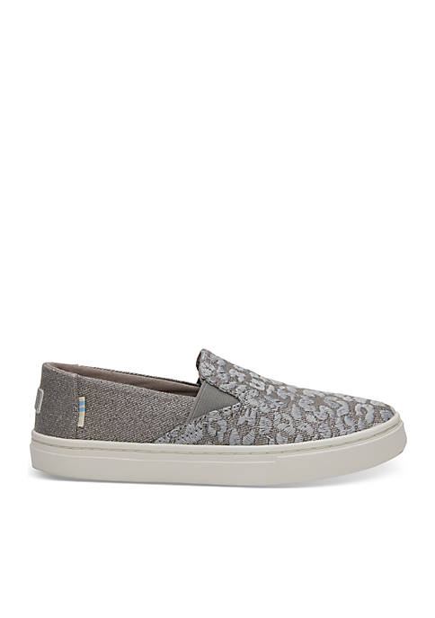 TOMS® Gray Cheetah Embroidery with Twill Glimmer Youth