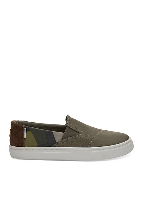 TOMS® Burnt Olive Camo Youth Luca Slip-Ons