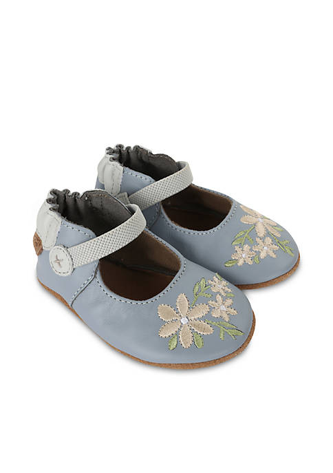 Robeez® Girls Pretty in Blue Soft Sole Shoes-Infant/Toddler