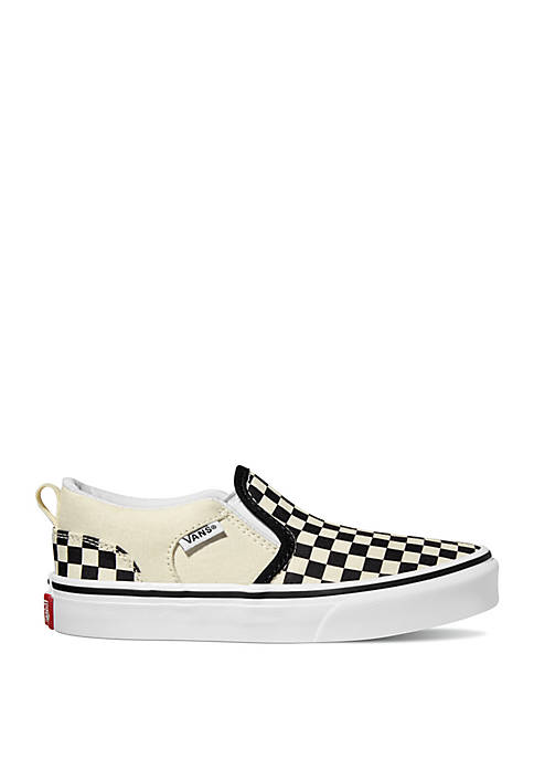VANS® Asher Black and White Checkerboard Sneakers
