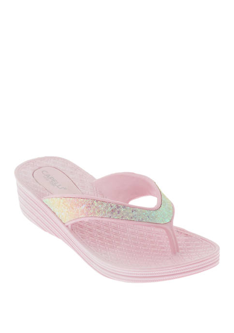 Capelli New York Toddler/Youth Girls Glitter Wedge Flip