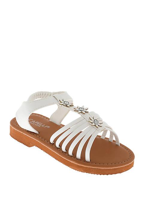 Capelli New York Youth Girls White Flower Sandals