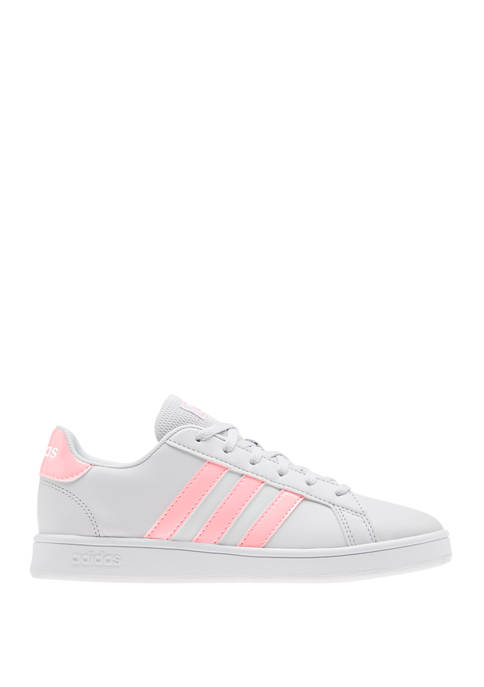 adidas Girls Youth Gray Grand Court Sneakers