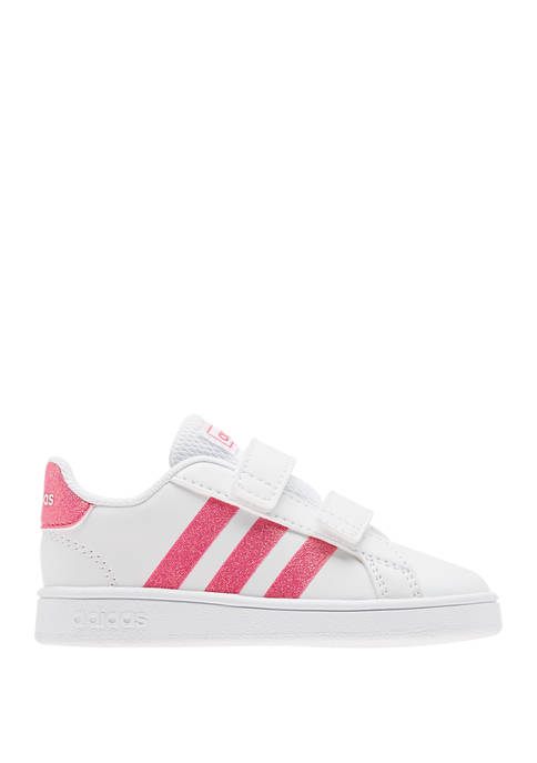 adidas Girls Toddler White and Red Grand Court