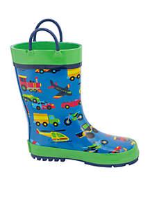 Toddler Boys All Over Print Transportation Rain Boot