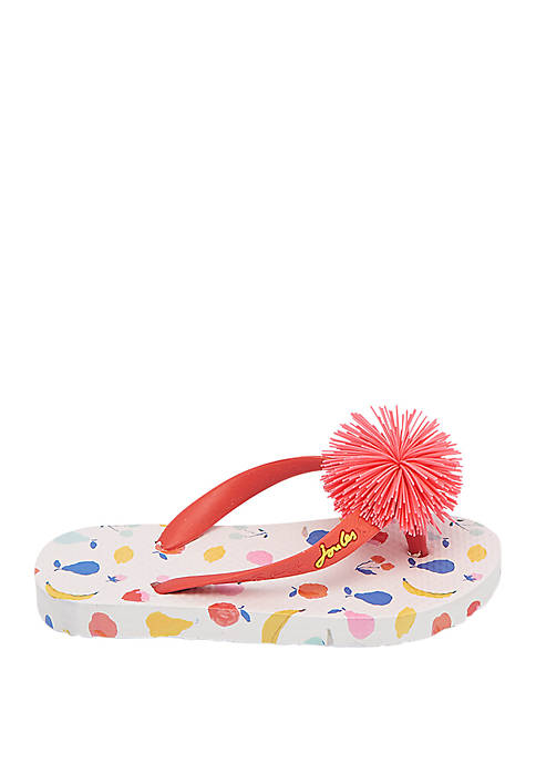 Joules Toddler/Youth Girls Printed Flip Flops
