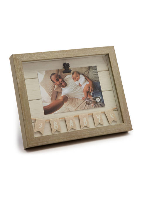 New View Baby Burlap Flag Shadowbox Frame