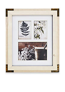 Reclaimed Collage White with Gold Corners Frame