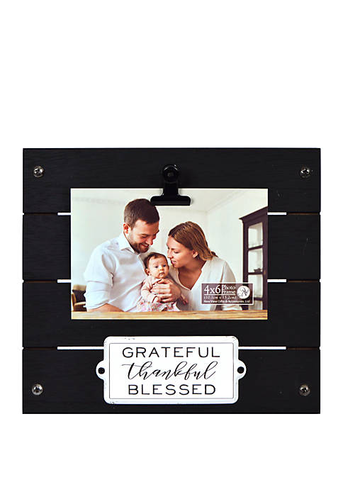 New View Grateful Thankful Blessed Enamel Plaque Clip