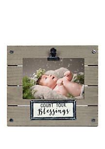 New View Count Your Blessings Plank Clip Frame with Linen Plaque
