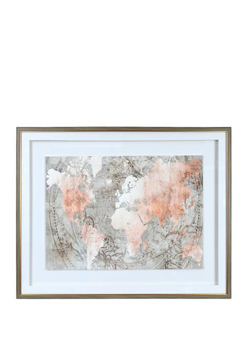 22 in x 28 in Map Framed Wall Art