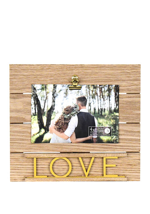 New View Plank Metal Word 4x6 Photo Frame