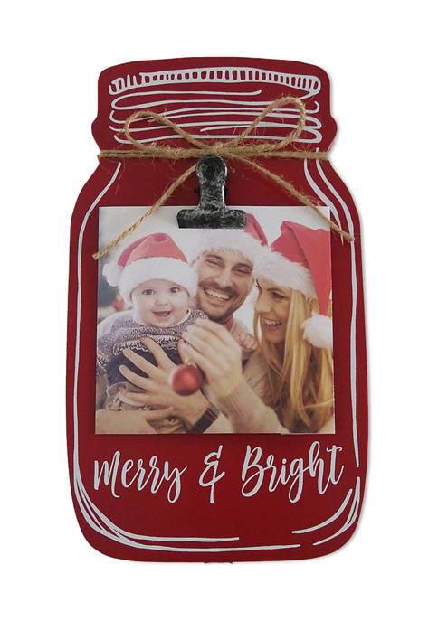 New View Mason Jar Clip Frame- Merry and