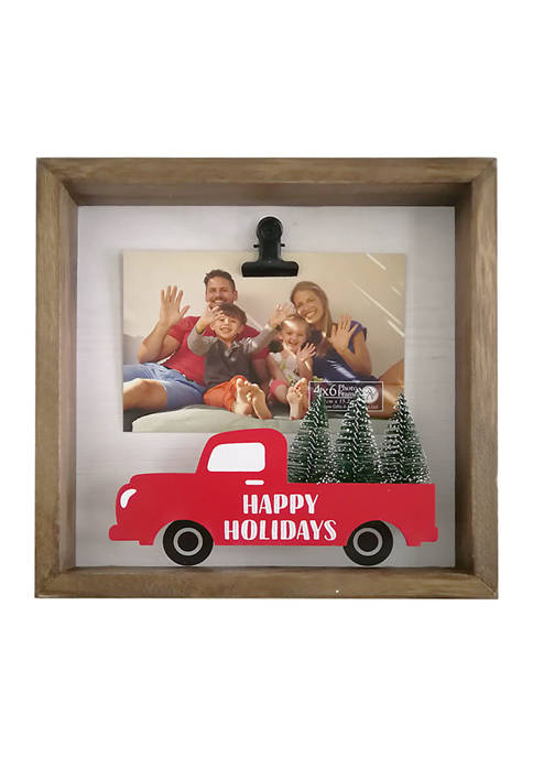 Red Truck Clip Frame- Happy Holidays