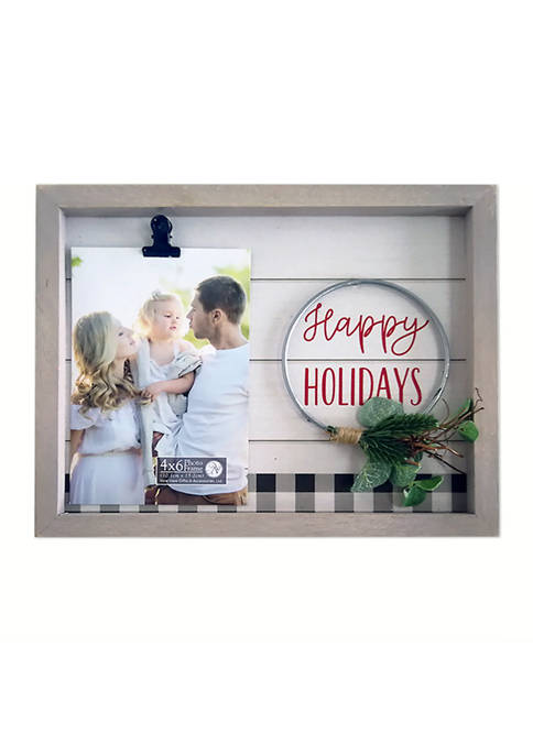 Wire Wreath Clip Frame- Happy Holidays
