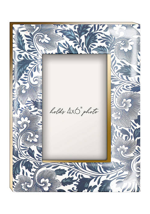 Blue Floral MDF 4 in x 6 in Photo Frame
