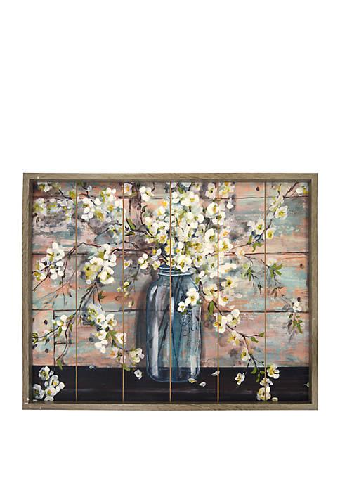 New View Mason Jar Blossoms Wood Wall Art