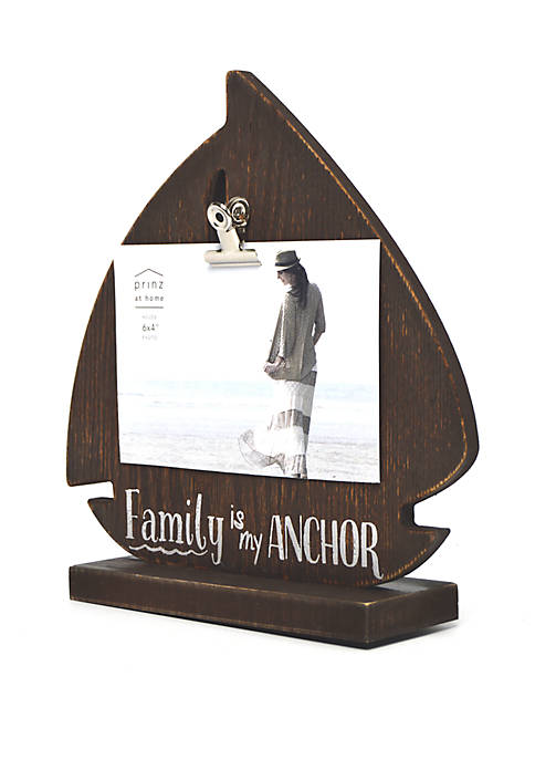 4 in x 6 in Family is My Anchor Sentiment Shaped Frame
