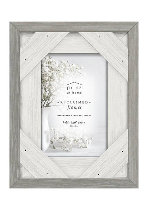 4 in x 6 in Grey and White Distressed Wood Frame