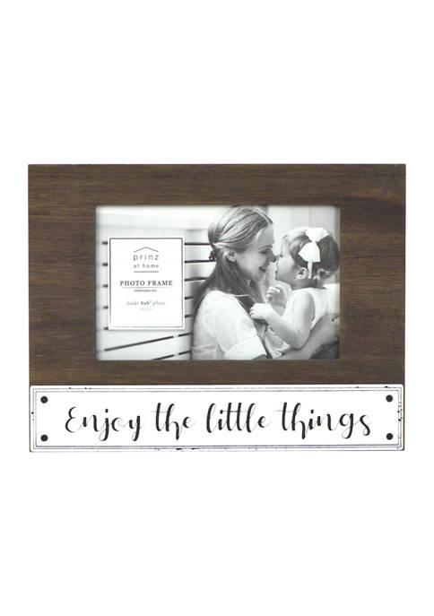Sentiment Frame- Enamel Plank Frame, Enjoy the Little Things