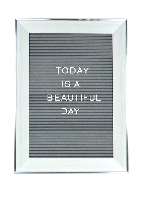 18 in x 24 in Flocked Letterboard with Routed Frame in Antique White/Gray and 180 Piece Letterpack