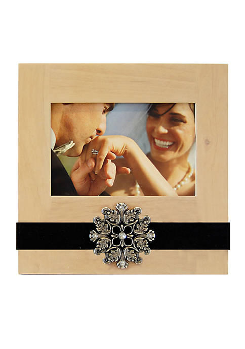 New View Crystal Glamour 6x4 Cream Ribbon Frame