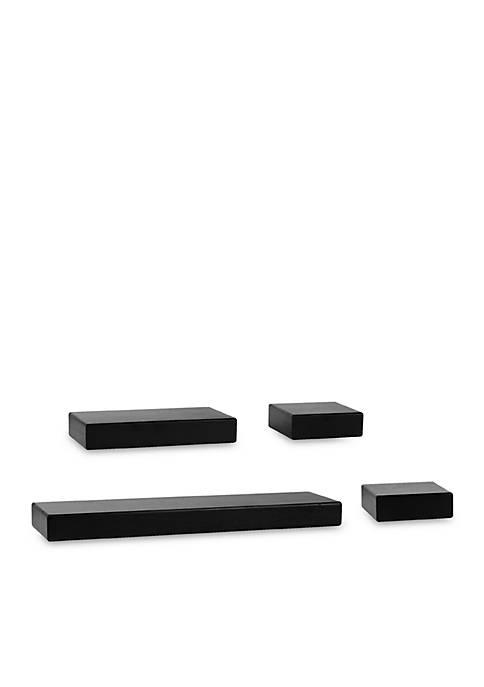 Black Wood Chunky Ledge Set of 4