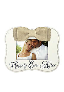 Burlap Bow Happily Ever After 4x6 Frame