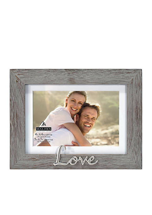 Malden 4x6 Love Distressed Grey Frame
