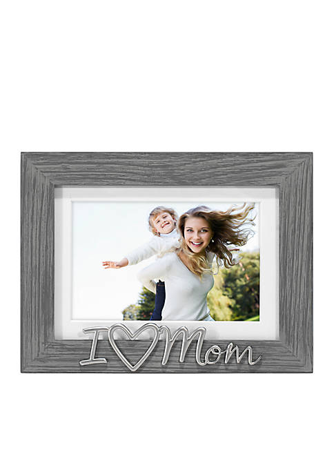 Malden Distressed Sentiments Gray I Love Mom 4-in.