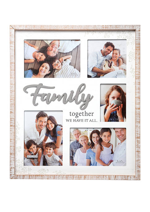 Malden 5 Opening Family Collage Frame with Rustic