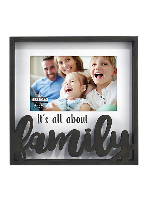 """Its All About Family 4"""" x 6"""" Laser Cut Script Shadowbox"""