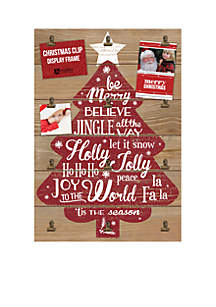 Wood Holiday Photo/Card Holder w/ Clips