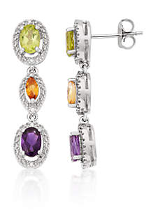 Amethyst, Peridot, Citrine, and Diamond Accent Earrings in Sterling Silver