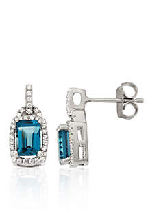 London Blue Topaz and Diamond Earrings in Sterling Silver