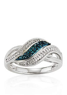 White and Blue Diamonds Swirl Ring in Sterling Silver