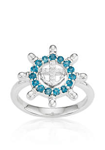 London Blue Topaz and Diamond Accent Ring in Sterling Silver