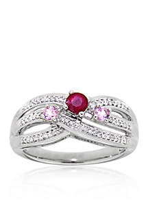 Ruby and Pink Sapphire Ring in Sterling Silver