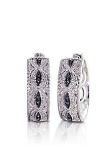 Blue Diamond Hoop Earrings in Sterling Silver
