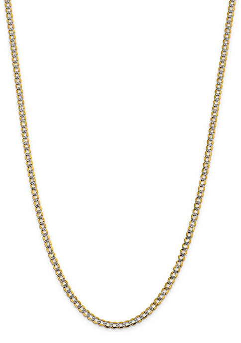 Mens 14K Yellow Gold 4.3 Millimeter Semi Solid Pave Curb Chain Necklace
