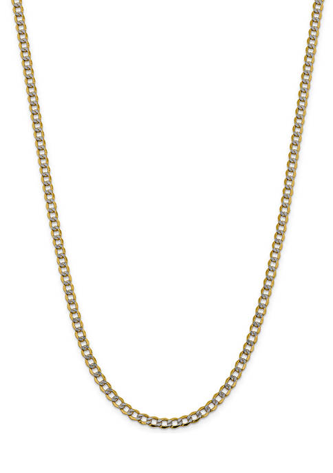 Mens 14K Yellow Gold 5.2 mm Semi Solid Pave Curb Chain Necklace