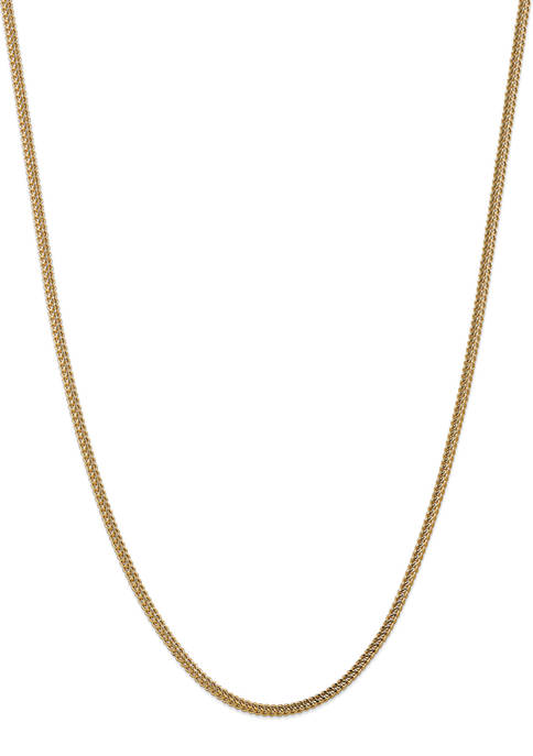 Mens 14K Yellow Gold 3 Millimeter Semi Solid Franco Chain Necklace